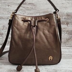 ⚃Etienne Aigner Bronze Leather Bucket Bag